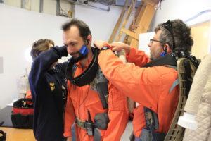 Commander Alexander getting ready for eva