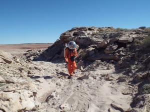 Crew geologist Dr Clarke