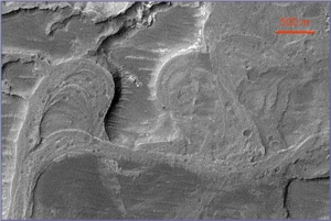 Exhumed and inverted channels in Eberswalde Crater, Mars (MSSS/NASA image)