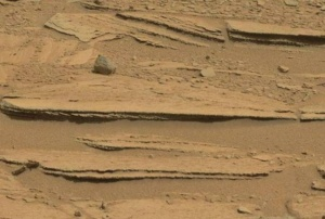 "Cross bedded sandstone in ""Shaler"" outcrop, Gale Crater, Mars (NASA/JPL)"