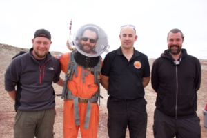 Commander Alex with crew members of the uk space agency team