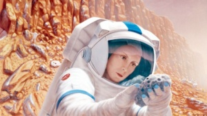 Artist's conception of astronaut on Mars (Pat Rawlings/NASA).