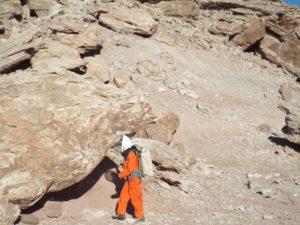 Annalea down among the boulders
