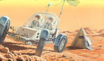 Artist's conception of an unpressurised rover on Mars (by David Hardy).
