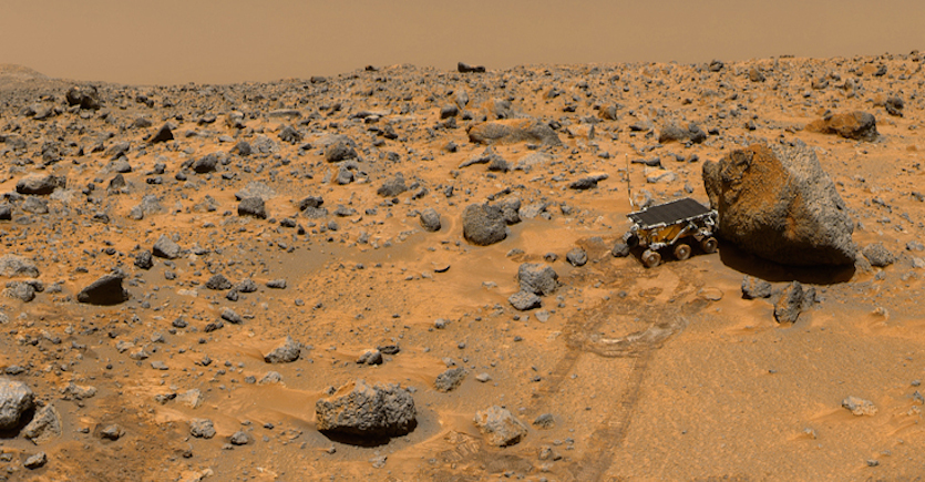 Cobbles and boulders probably transported down Ares Vallis at the Pathfinder landing site (NASA image).